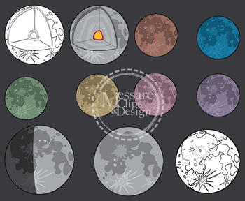 Moon Phases and Lunar Cycle Clip Art Set {Messare Clips and Design}