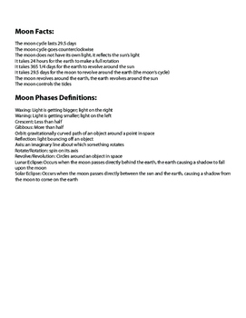 Moon Phases and Seasons Study Guide