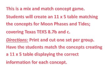 Moon Phases and Tides Concept Match Up 8.7b, and c