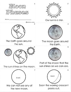moon phases worksheet mini book by little stars learning tpt. Black Bedroom Furniture Sets. Home Design Ideas