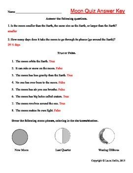 Moon Quiz- 2nd, 3rd, 4th, 5th, 6th