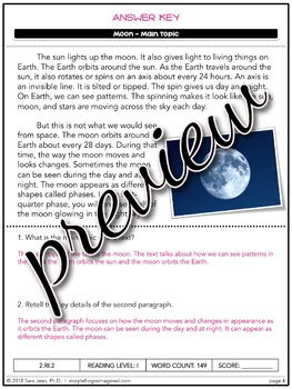 Moon Differentiated Reading Passage Comprehension Main Idea