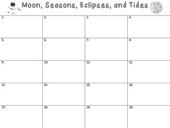 Moon, Seasons, Eclipses, and Tides Task Rotation Set