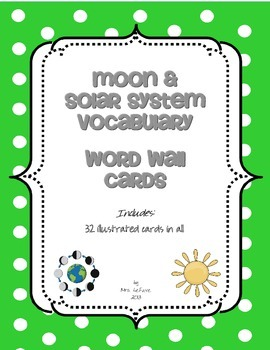 Moon & Solar System Vocabulary Word Wall Cards