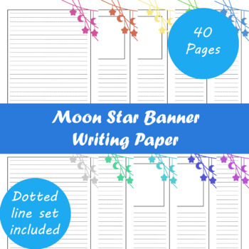 Moon Star Banner Writing Paper