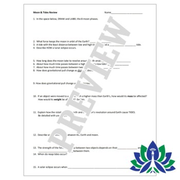 Moon + Tides Review Worksheet Activity middle school NGSS MS-ESS1-1 MS-ESS1-2