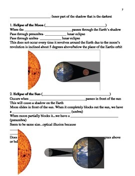 Moon, Tides and Eclipses notes