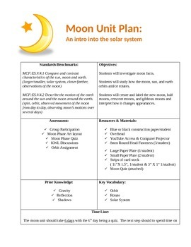 Moon Unit Plan: An introduction into the Solar System