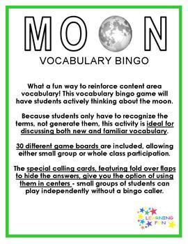 Moon Vocabulary Bingo