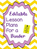 Editable Lesson Planner for a 3 Ring Binder