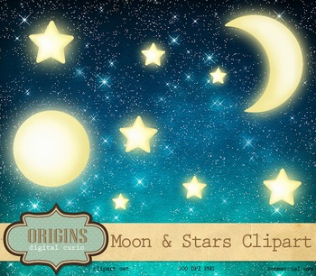 Moon and Stars Night Sky Clipart Clip Art