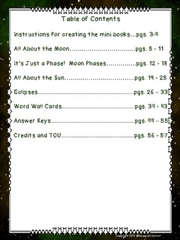 Moon, Phases, Eclipses and Sun Foldable Minibook and Comprehension sheets bundle
