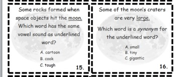 Moon facts activity integrates science, language arts, grammar, and math