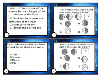 Moon phase, Seasons, Eclipses, and Tides Task Cards