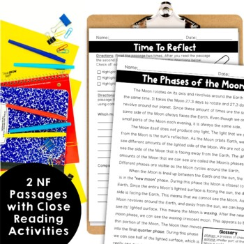 Reading Comprehension Passages and Questions Moon's Phases Close Reading