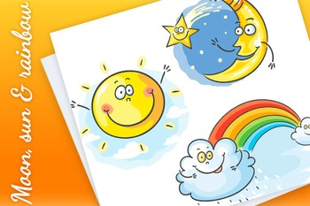 Moon, sun and rainbow