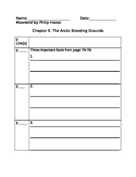Moonbird Chapter 5 Close Reading Packet