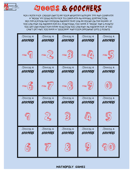 Moons & Goochers 5 - Integers, Add, Subtract, Multiplication and Division