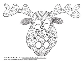 Moose Colouring Page from Weasie's World of Doodles, Colouring Book 3