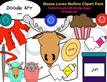 Moose Loves Muffins Clipart Pack