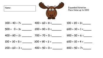 Moose Math 3 digits Common Core  Expanded Not., count by 100s,100 more & less