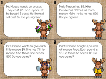 Moose Math: Basic Multiplication Facts with Money Task Cards
