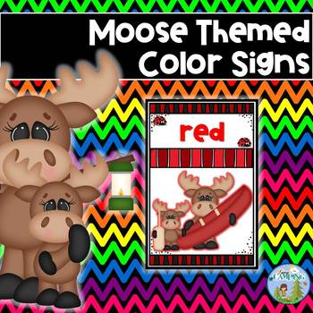 Moose Themed Color Signs