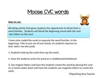Moose CVC words Short ă Blending Common Core