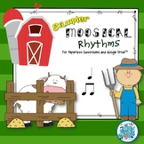 Moosical Rhythms-Read and Write Quarter and Eighth Notes Paperless Classrooms