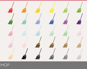 Mop Digital Clipart, Mop Graphics, Mop PNG, Rainbow Mop Digital Files