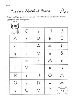 Alphabet Mazes / Uppercase and Lowercase Alphabet Recognition Worksheets