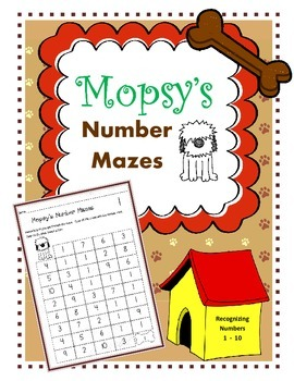 Number Mazes / Number Recognition Worksheets / Numbers 1 - 10