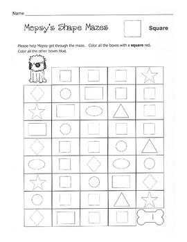 Shape Mazes / Shape Recognition Worksheets / Basic Shapes