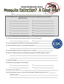 Moquito Diseases : Article and Questions (CDC / cells infromational reading)