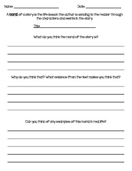 Moral of a Story Worksheet by Kimberly Bowlsbey | TpT