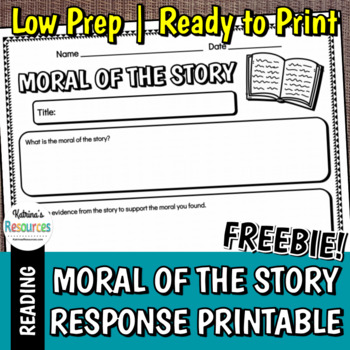 Moral of the Story Response Page Printable