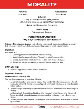 Morality Character Lesson Plan