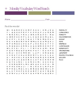 Morality Vocabulary Word Search