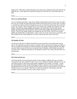Morals of Fables Worksheets