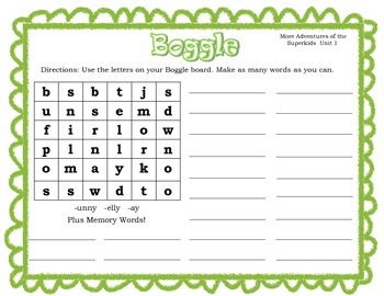 More Adventures Superkids Pattern and Memory Words Boggle Units 1-9