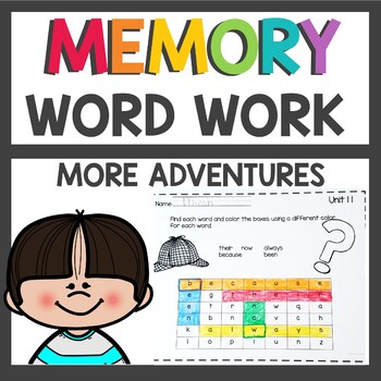 More Adventures of The Superkids Memory Word Worksheets