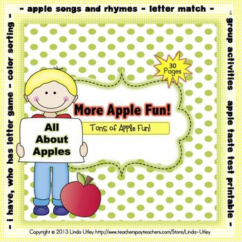 Apple Theme Printable Activities by Linda Utley | TpT