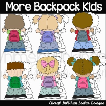 More Backpack Kids Clipart Collection