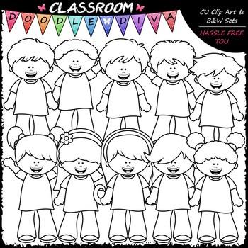 More Big Grin Kids Clip Art - Boys & Girls Clip Art & B&W Set