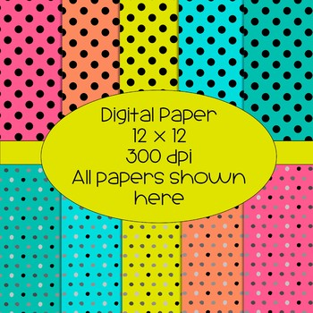 More Bright Polka Dot Digital Papers - 5 Colors, 2 Designs, 10 Total Papers