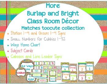 More Burlap and Bright Classroom Decor Matches toocute