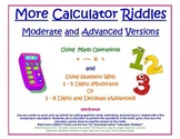More Calculator Riddles: Moderate and Advanced Level Cards