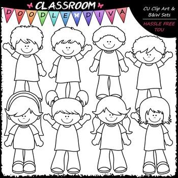 More Casual Kids Clip Art - Boys / Girls Clip Art