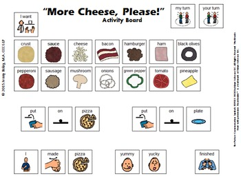 """""""More Cheese, Please!"""" Adapted Pizza Building Activity"""