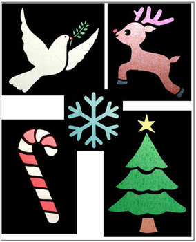 More Christmas stained glass crafts with tissue paper